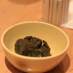 豊魚 - お通し アワビの肝の煮たの