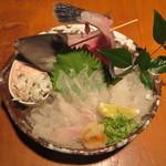 波平キッチン - 皮ハギ 薄造り 2200円(税込)