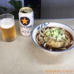 根の上そば 梅信亭 - 缶ビール ¥330- (2016.9.30)