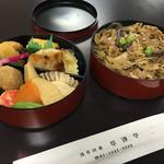 草津亭 - 特製すき焼き二段重 1296円 (税込)