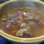 厚切りステーキたわらや - 牛すじのスープ。 セットのスープですが、牛すじが柔らかく旨味が出ていて美味しかったです。