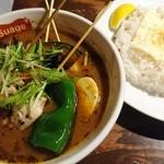 スープカリー スアゲ プラス 本店 - パリパリ知床鶏と野菜カレー+チーズオンザライス 1240円