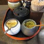 元祖博多麺もつ屋 - 薬味はおろしニンニクと柚子胡椒