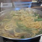 元祖博多麺もつ屋 - 最初から麺が入ってます。
