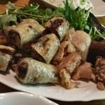 ベトナム料理 オーセンティック - ブンチャー(の具の揚げ春巻き、ハーブ等)