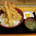 たぬき - エビ天丼、味噌汁、お新香