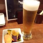 丸鶏FUJI - 生ビール/ハートランド+お通し(二人分)