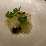 56827564 - 前菜はつぶ貝とキャビアとキャビアライム
