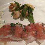 56829454 - 太刀魚とツブ貝のカルパッチョ