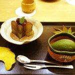 銀座 奥田 - 巨峰と抹茶アイス