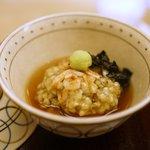 銀座 奥田 - 鯛の酒蒸しに蕎麦粉、みそば蒸し