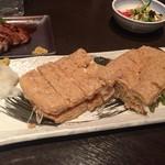 へぎそば匠 - 栃尾のジャンボ油揚げネギ味噌納豆