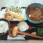 松栄庵 - 海老天付き天ぷらランチ