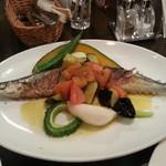 味工房夢魚 - 新さんまソテー、ナスとトマトのオイルソース