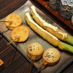香串揚げ やぶから坊 - 料理写真:後の串揚げ3種類