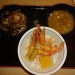 目利きの銀次 - 海老天丼(830円)、漁師節うどん(温)(180円)