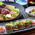 明神丸 - 鰹たたきとたたき握りの定食