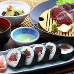 明神丸 - 鰹たたきと土佐巻きの定食