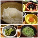 博多 なぎの木 - ◆ご飯は普通に美味しい品。最初から少なめですので、男性には足りないかもしれません。 ◆アラメの煮物・・ゲソが入り、いいお味です。 ◆明太子 ◆アオサと葱のお味噌汁。
