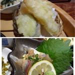 博多 なぎの木 - ◆天ぷらは「海老」「鶏」「茄子」など。天つゆか塩で頂きます。 ◆鯵の胡麻和え・・これ美味しい。鯵も新鮮ですし、ゴマダレもいいお味。