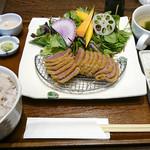 牛かつ・サラダバーあおな - 「お」黒毛和牛定食(十六穀米)