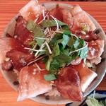 56885285 - アグー豚丼島野菜添え(サラダ・アーサの味噌汁付き)