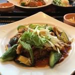56900928 - 鶏と野菜の黒酢あんかけ定食と香辛だれの鶏竜田定食(2016.10現在)