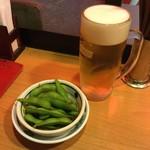 焼鳥日高 - 生と枝豆です。