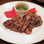 56906178 - 鹿角牛のサーロイン 香草とブリュゴーニュバターを合わせたソースを添えて