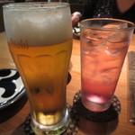 居酒屋 千成 - ドリンク写真:生ビール(450円)&酎ハイ巨峰(390円)