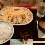 カフェ&レスト 潮騒 - スペシャル肉野菜定食、¥1,000。卵がふわふわ。