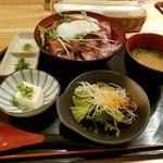 56913059 - 「こだわりソースと温泉卵のしっとり和風ローストビーフ丼」1,200円