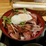 56913070 - 「こだわりソースと温泉卵のしっとり和風ローストビーフ丼」1,200円