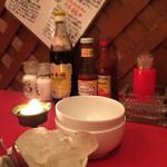56914842 - 卓上には美しい岩塩や黒酢などの調味料が常備(^^)