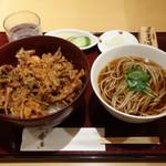日本そば あけの蕎 - ランチセット(かき揚げ丼と蕎麦) 930円