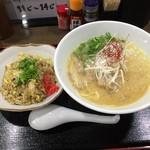 麺ヒーロー - 鶏白湯らーめん(730円)Aセット<半チャン>(+60円)