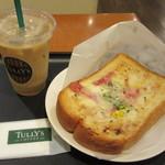タリーズ コーヒー - 厚切りパンのオープンサンドベーコンツナメルトモーニングセット 530円
