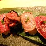 飛騨牛一頭家 馬喰一代 名古屋 - 飛騨牛寿司5点盛り