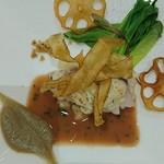 リストランテ ASO - 真鯛と天使の海老のロースト 根菜のリゾットと赤ワインのソース