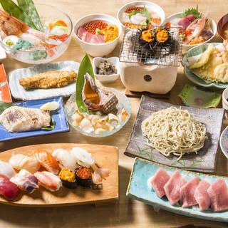 「旬の魚料理」「お寿司」「お蕎麦」をご用意します。