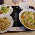 中国料理 天安門 - 五目汁そば+ミニチャーハンセット