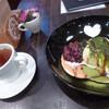 perch - 料理写真:あずき抹茶の和風パンケーキとラズベリーティー