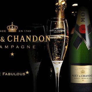 シャンパンにこだわるシャンパンモエ飲み放題4500円より♪