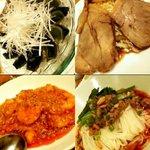 "Chiiran - ""ピータン、チャーシュー、エビチリ、汁なし担担麺(成都担担麺)"""