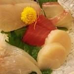 魚の蔵 - 大漁定食のお刺身アップ