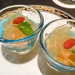 中国料理 桃翠 - コリコリくらげと県産モズクの酢の物。