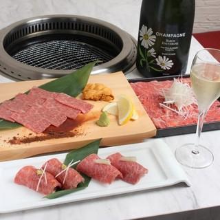 【宮崎牛】肉寿司、雲丹巻き牛刺し、ユッケ等の生肉料理