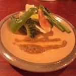 日々ノ泡 - 野菜のバーニャカウダー  無農薬や減農薬の野菜はフレッシュ感と旨み満載! ソースも抜群です!