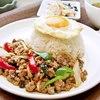 豚ひき肉ガパオSET(生春巻+タイサラダ+スープ付)
