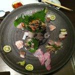 にし川 - 本日オススメの刺身盛り(食べる前に撮るべきでした)